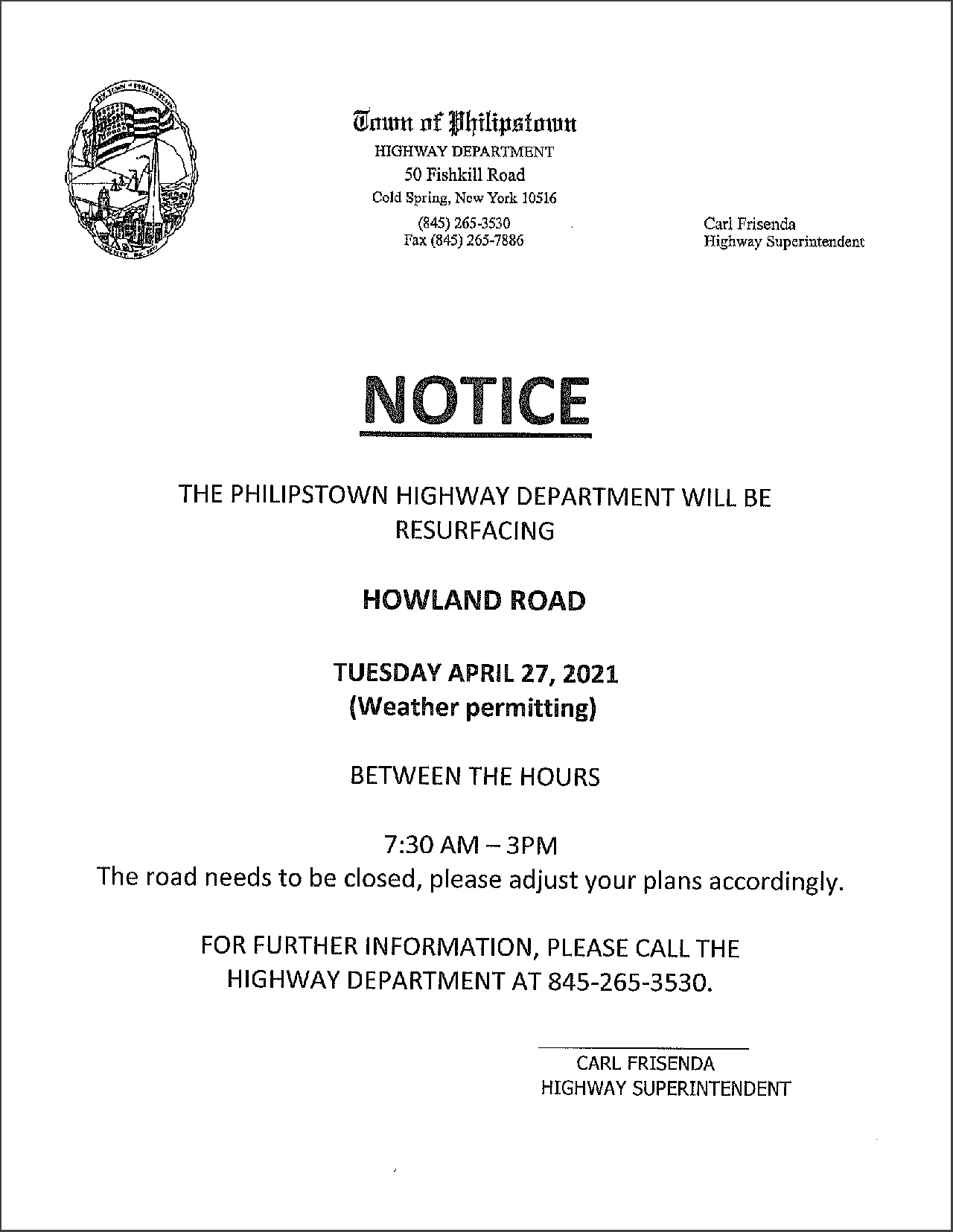 Howland Road Closed For Paving Tues, Apr 27