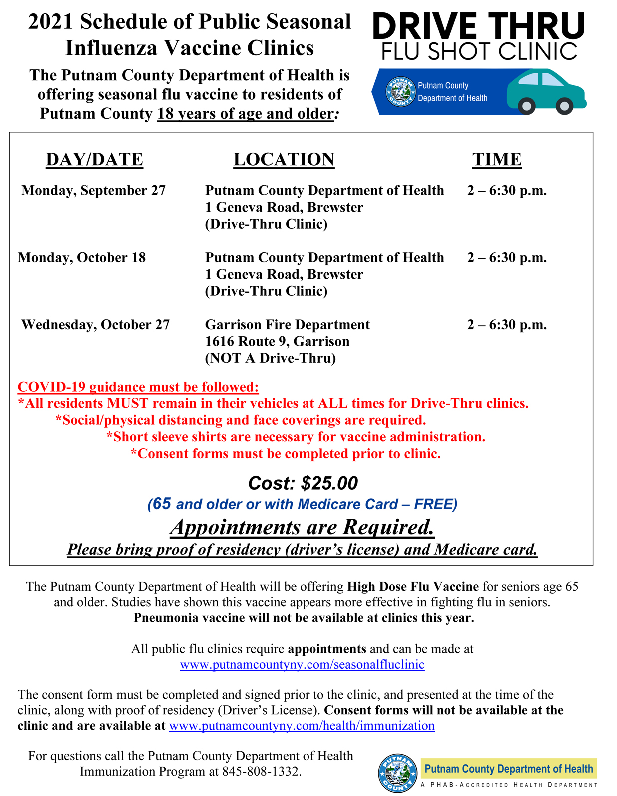 2021 Putnam County Dept of Health Fall Flu Clinics